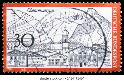 MOSCOW, RUSSIA - MARCH 30, 2019: A stamp printed in Germany shows Oberammergau, Tourism serie, circa 1970