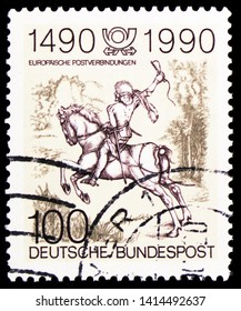 "MOSCOW, RUSSIA - MARCH 30, 2019: A stamp printed in Germany, Federal Republic shows ""Courier"" by Albrecht Durer, 500th Anniversary of Regular European Postal Services serie, circa 1990"