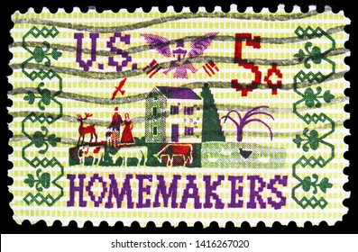 MOSCOW, RUSSIA - MARCH 30, 2019: A stamp printed in United States shows HOMEMAKERS, serie, circa 1964