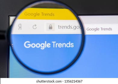 Moscow, Russia, March 31, 2019, laptop screen Shot through a magnifying glass Google trends website