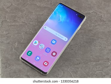 Moscow, Russia - March 4, 2019: Samsung SM-G975F Galaxy S10+ Prism White.