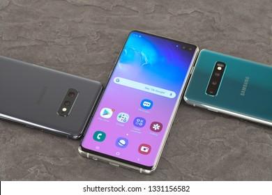 Moscow, Russia - March 4, 2019: Samsung SM-G970F Galaxy S10e, SM-G973F Galaxy S10, SM-G975F Galaxy S10+.