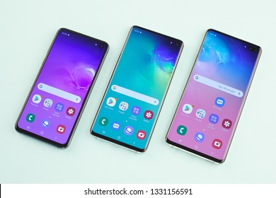 Moscow, Russia - March 4, 2019: Samsung SM-G970F Galaxy S10e, SM-G973F Galaxy S10, SM-G975F Galaxy S10+. Front view.