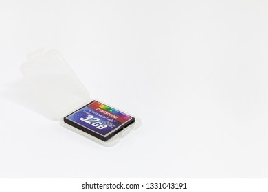 Moscow / Russia - March 6, 2019: 32 gb transcend compact flash memory card in a plastic box