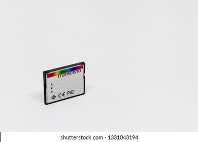 Moscow / Russia - March 6, 2019: 32 gb transcend compact flash memory card