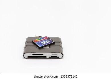 Moscow / Russia - March 6, 2019: Kingston universal card reader and a 32 gigabyte transcend compact flash memory card