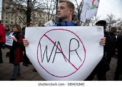 MOSCOW, RUSSIA - MARCH 7: Picket against war in Ukraine held in center of Moscow, March 7, 2014, Russia