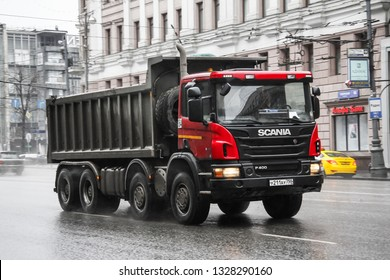 Moscow, Russia - March 8, 2015: Dump truck Scania P400 in the city street.