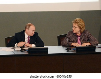 MOSCOW, RUSSIA - MARCH  9, 2017:  Russian President Vladimir Putin and the President of the Council of Federation of the Federal Assembly of the Russian Federation Valentina Matvienko.