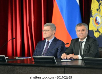 MOSCOW, RUSSIA - MARCH  9, 2017: The Prosecutor General of the Russian Federation Yuri Chaika and the Chairman of the State Duma of the Federal Assembly of the Russian Federation Vyacheslav Volodin.