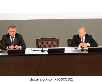 MOSCOW, RUSSIA - MARCH  9, 2017:The President of the Russian Federation Vladimir Putin and Chairman of the State Duma of the Federal Assembly of the Russian Federation Vyacheslav Volodin.