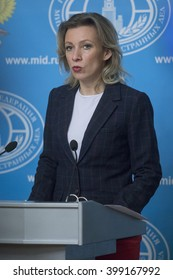 MOSCOW, RUSSIA - MARTH 31: Russian Federation Foreign Ministry's spokesman Maria Zakharova speaks during a press briefing at the Russian Foreign Ministry building in Moscow, Russia, on Marth 31, 2016.