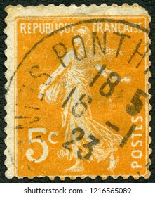 MOSCOW, RUSSIA - MAY 01, 2018: A stamp printed in France shows Sower, 1895