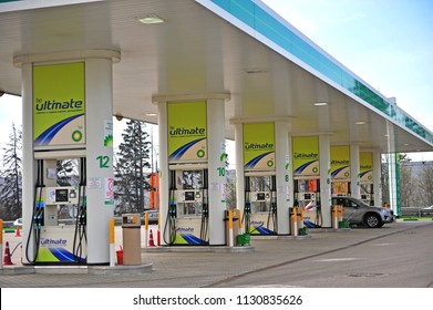 MOSCOW, RUSSIA - MAY 02: BP Petroleum oil station in Moscow on May 2, 2018.