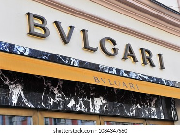 MOSCOW, RUSSIA - MAY 02: Logo of Bulgary flagship store, Moscow on May 2, 2018.