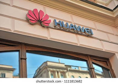 MOSCOW, RUSSIA - MAY 02: Logo of Huawei flagship store in Moscow on May 2, 2018.