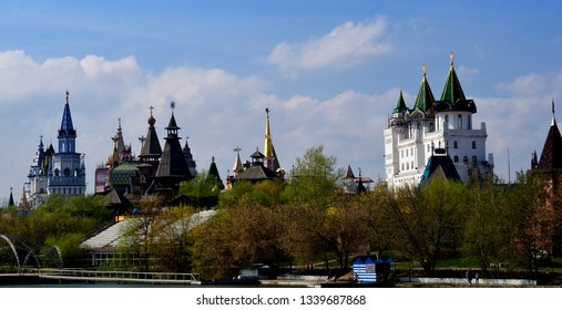 MOSCOW, RUSSIA - MAY 02,2015:  View of the Izmailovo Kremlin from the island. One of the attractions of the east of Moscow.