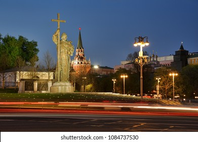 MOSCOW, RUSSIA - May 03, 2018 Monument to the Holy Great Prince Vladimir, Equal of the Apostles, and Baptist of Russia, on Borovitskaya Square with car lights trails in spring twilight.