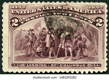 MOSCOW, RUSSIA - MAY 03, 2019: A stamp printed in USA shows Landing of Christopher Columbus (1451-1506), 1922