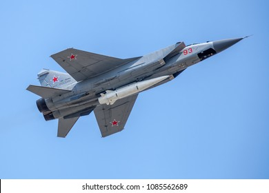 MOSCOW, RUSSIA - May 04, 2018 Mikoyan MiG-31 (NATO: Foxhound) - supersonic interceptor aircraft with Kh-47M2 Kinzhal - hypersonic air-launched ballistic missile at Rehearsal of 2018 Victory Day Parade
