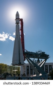 Moscow, Russia - May 04, 2019: Vostok 8K72K rocket at the All Russia Exhibition Centre