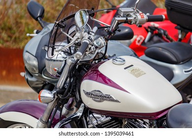 Moscow, Russia - May 04, 2019: Motorcycle Honda Shadow American Classic Edition in the parking at sunny day closeup. Moto festival MosMotoFest 2019