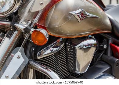 Moscow, Russia - May 04, 2019: Chromed engine of Kawasaki Vulcan tourist motorcycle closeup. Moto festival MosMotoFest 2019