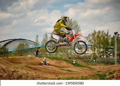 Moscow / Russia - May 04 2019: Rider on a motocross bike during training in Moscow 2019
