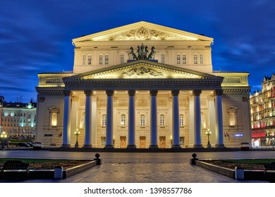 MOSCOW, RUSSIA - May 04, 2019 Bolshoi Theater Building in Morning Twilight. View from Theater square on the building world famous Bolshoi, one of the most popular tourists spots in Moscow.
