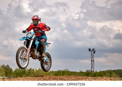 Moscow / Russia - May 04 2019: Motocross training in Moscow at the Technical Sports Stadium 2019
