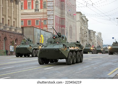 MOSCOW, RUSSIA - MAY 05, 2014: Rehearsal celebration of the Victory Day (WWII). Military equipment prepares to travel to the Red Square. The BTR-82A is amphibious armoured personnel carrier (APC)