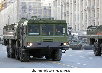 MOSCOW, RUSSIA - MAY 05, 2016: Rehearsal of the Victory parade in WWII. Military equipment on Tverskaya street. The 9K720 Iskander (SS-26 Stone) is a mobile short-range ballistic missile system