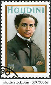 MOSCOW, RUSSIA - MAY 05, 2016: A stamp printed in USA shows Harry Houdini (1874-1926), Erik Weisz, Magician, 2002
