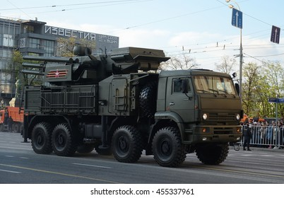 "MOSCOW, RUSSIA - MAY 05, 2016:Anti-aircraft missile and gun complex ""Carapace-s"" at the rehearsal of the parade dedicated to the 71st anniversary of the Victory in the great Patriotic war."