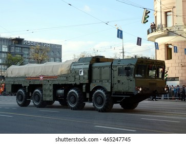 MOSCOW, RUSSIA - MAY 05, 2016:Military equipment on Tverskaya street prepares to travel to the Red Square. The 9K720 Iskander is a mobile short-range ballistic missile system.