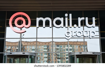 MOSCOW, RUSSIA - MAY 05, 2019: Logo of Mail.Ru Group on the office building