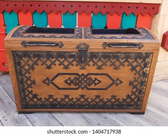 MOSCOW, RUSSIA - MAY 05, 2019: Moscow Easter festival in Kozhukhovo. Urn in form of art chest.