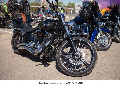 MOSCOW, RUSSIA - MAY 06, 2017: motorcycles In the parking, VDNH district. Motofestival 2017