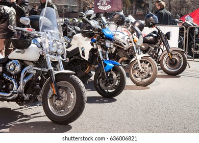 MOSCOW, RUSSIA - MAY 06, 2017: motorcycles in the parking, pr. Academician Sakharov. Motofestival 2017