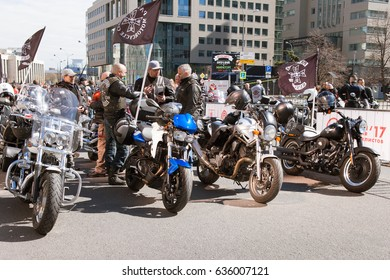 MOSCOW, RUSSIA - MAY 06, 2017: motorcycles and bikers in the parking, pr. Academician Sakharov. Motofestival 2017