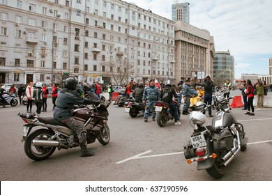 MOSCOW, RUSSIA - MAY 06, 2017: Motorcycles checkpoint against background of buildings, pr. Academician Sakharov. Motofestival 2017