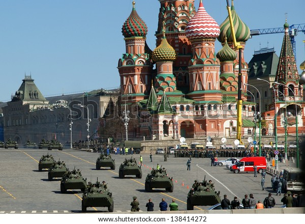 MOSCOW, RUSSIA - MAY, 07 2013: Moscow, Russia on may, 07 2013. Rehearsal of military parade on Red Square Moscow, Russia.