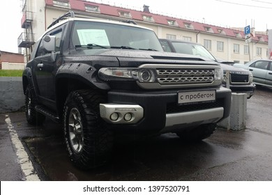 Moscow, Russia - May 07, 2019: A black SUV Toyota FJ Cruiser parked on the street.