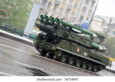MOSCOW, RUSSIA - MAY 07: BUK-M2 missile system May 07, 2011 in Moscow, Russia. Dress rehearsal of the Military Parade.