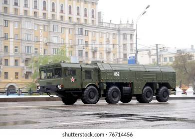 MOSCOW, RUSSIA - MAY 07: Modern russian rocket artillery  May 07, 2011 in Moscow, Russia. Dress rehearsal of the Military Parade.