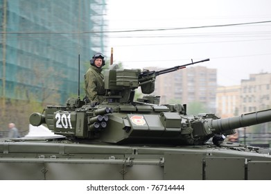MOSCOW, RUSSIA - MAY 07: Soldier in modern russian self-propelled gun May 07, 2011 in Moscow, Russia. Dress rehearsal of the Military Parade.