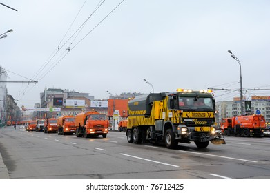 MOSCOW, RUSSIA - MAY 07: Street cleansing machines wash the asphalt road before the Victory day military Parade May 07, 2011 in Moscow, Russia.