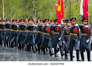 MOSCOW, RUSSIA - MAY 08, 2017: March-past (parade) of the The Honor Guard of the 154 Preobrazhensky Regiment. Rainy weather.