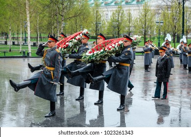 MOSCOW, RUSSIA - MAY 08, 2017:  General of the Army VALERY GERASIMOV and Collegium of the MINISTRY of DEFENCE laid a wreath at the Tomb of the Unknown Soldier near the Kremlin Wall.