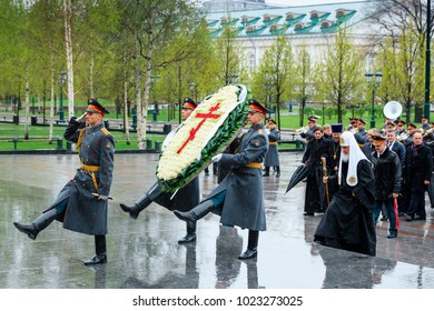 MOSCOW, RUSSIA - MAY 08, 2017:  Patriarch of Moscow and all Rus' KIRILL and the HIGHER CLERGY of the Russian Orthodox Church laid a wreath at the Tomb of the Unknown Soldier near the Kremlin Wall.